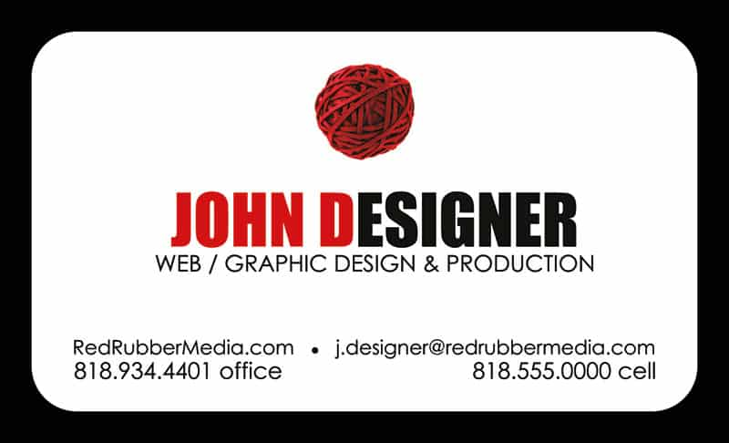 Red Rubber Media Business Cards - Back