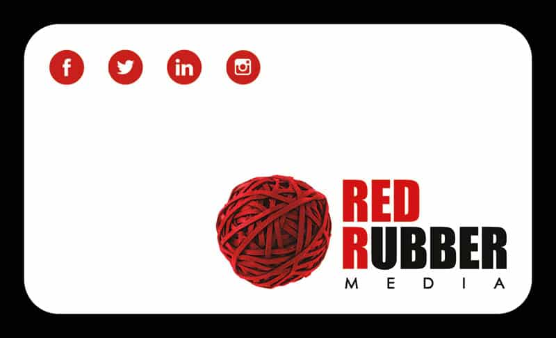 Red Rubber Media Business Cards - Front